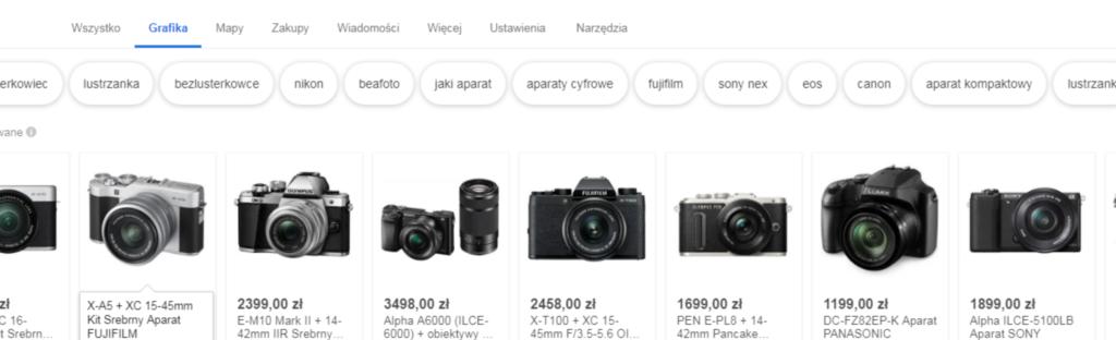 Nowe reklamy produktowe w Google Grafika